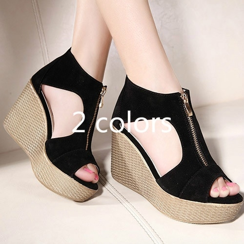Picture of Women Shoes Woman Summer Platform Wedges Vintage High Heels Open Toe With Zippers