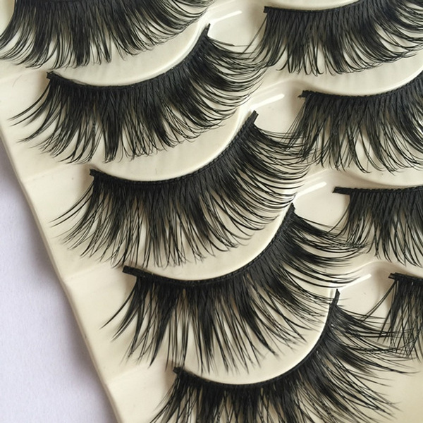 1.6cm 5Pairs Fashion Long Thick Eye Lashes Extension Cross Makeup Tool False Fake Eyelashes
