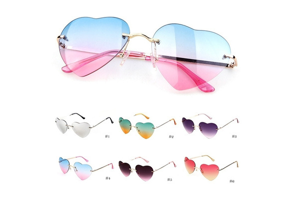Vogue Design Colourful Adore-Coronary heart Formed Created Rimless Eyeglasses Special Sunglasses Shades