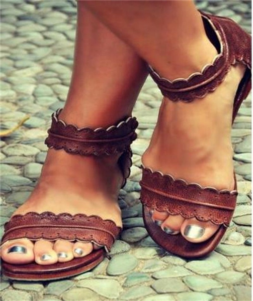 Picture of Women's Roman Goth Gladiator Thong Sandals Flat Rome Sandals Summer Shoes
