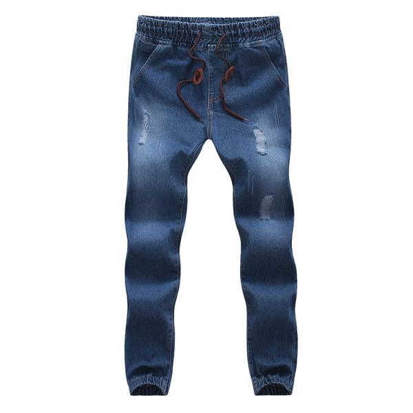 auf Füßen Aufnahmen von Bestellung Qualität Mens Jogger Jeans New Fashion Drawstring Slim Fit Denim Men's Cuffed  Joggers Stretch Elastic Jeans Pencil Pants Casual Jogging