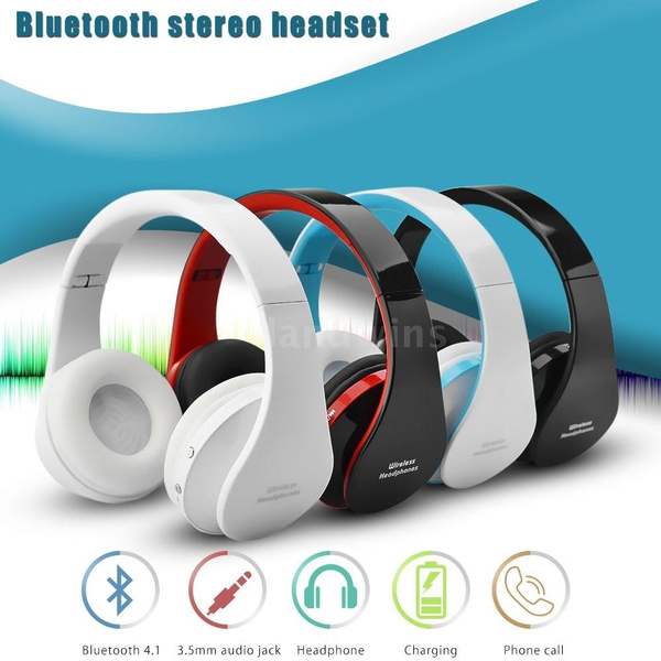 Picture of Foldable Wireless Bluetooth Stereo Bass Headphone W/mic For Iphone Handfree 4t6m