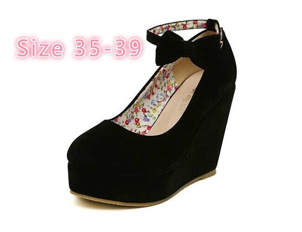 hermosa y encantadora estilo actualizado bebé Compre 2016 HOT Sexy Mujeres Moda Hebilla Zapatos De Mujer Cuñas Tacones  Altos Plataforma Arco Negro Bombas Tenis Feminino Sapato Feminino J3415 A  ...