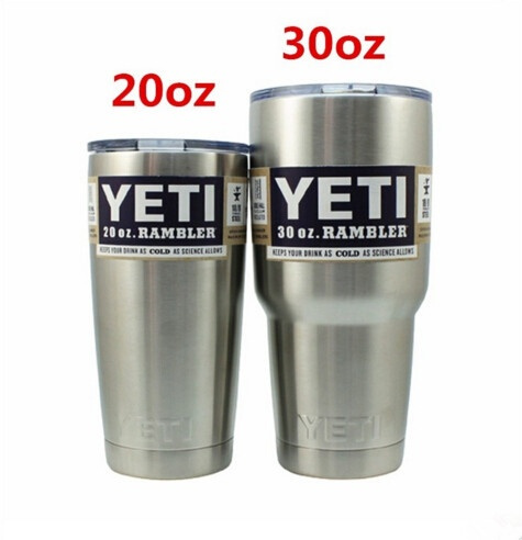 304 Stainless Steel 20/30 oz Yeti Cups Cooler YETI Rambler Tumbler Cup  Vehicle Beer Mug Double Wall Bilayer Vacuum Insulated