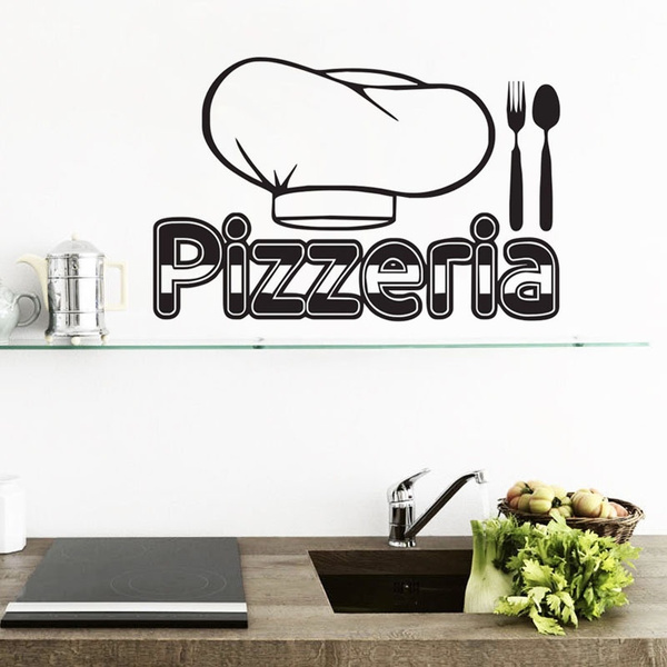 Pizzeria Home Decoration Wall Stickers Vinyl Art Kitchen Wall Tile Sticker  Waterproof Adhesive Wallpapers for Walls