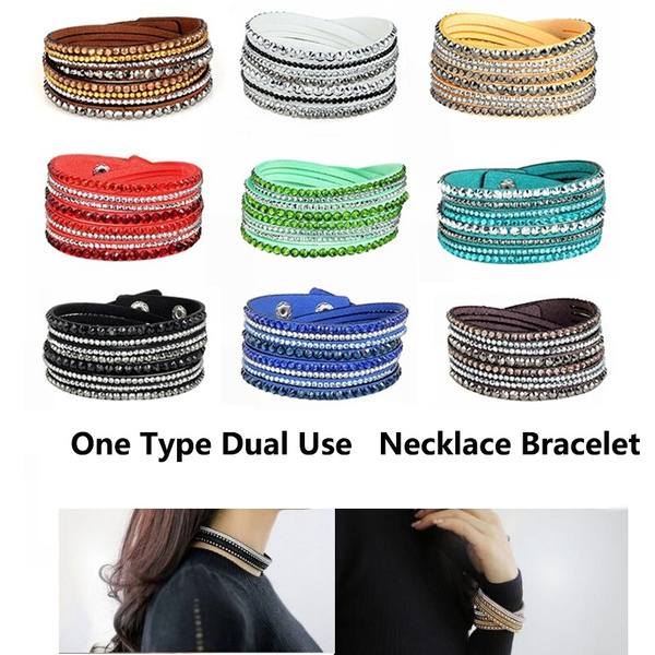 6 Layer Slake Velvet Leather Wrap Bling Rhinestone Rivet Women Braclet Bangle