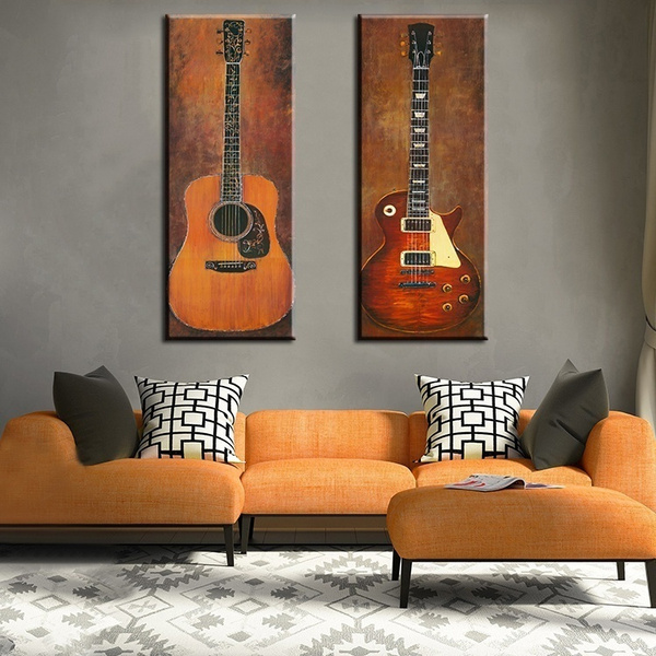 2 Pcs Music Studio Room Guitar Decorative Wall Paintings For Home Decor Pictures Art Print On Canvas Home Decoration