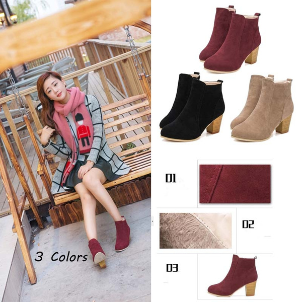 Picture of Autumn And Winter Short Cylinder Boots With High Heels Boots Shoes Boots Women Ankle Boots With Thick Scrub