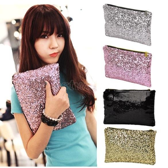 Picture of Fashion Women Clutch Dazzling Sequins Glitter Sparkling Handbag Evening Bag X 1