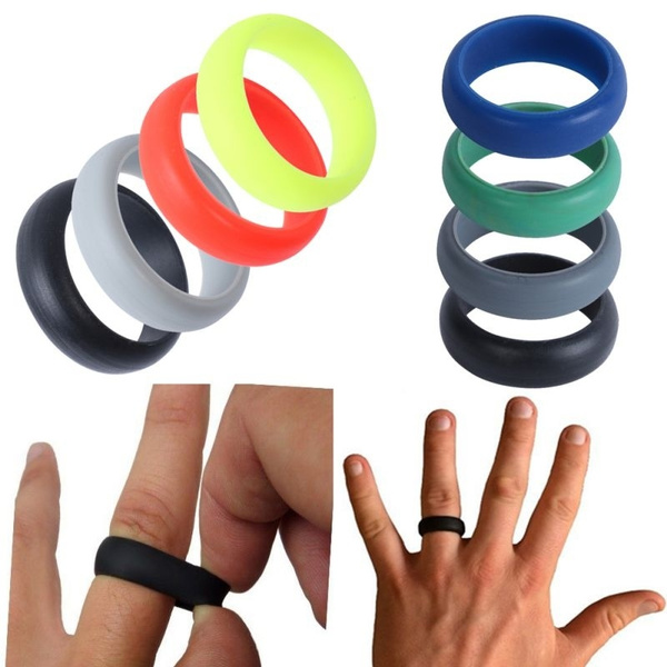 Picture of Unisex Silicone Wedding Band Rings Men Women Flexible Hypoallergenic Rubber Ring