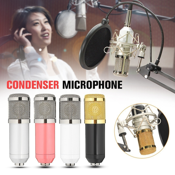 Picture of Bm800 Condenser Microphone Ktv+professional Broadcast Studio Microphone Arm Stand Foldable Holder Mic Suspension Boom Scissor Karaoke Recording Bracket+flexible Dual Double Layer Microphone Windscreen Pop Filter Mask Shield+shock Mount+power Cable