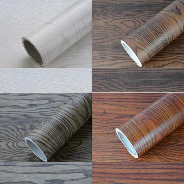 1M*60CM Self-Adhesive Sticker Furniture Refurbished Wood Waterproof Wallpaper