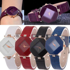 Fashion Rhinestone Diamond Faux Leather WristWatch Bracelet Quartz Analog