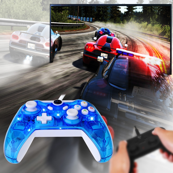 Xbox One Controller-LED Wired Clear Good Touch 4 Motors for Xbox One (Blue)