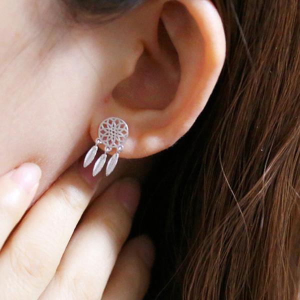 Picture of 925 Sterling Silver Earring Dream Catch Pierced Tassel Earring Women Fashion Jewelry