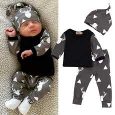 Newborn Baby Girl Boy Clothes Deer Tops T-shirt+Pants Leggings + hat 3pcs Outfits Set