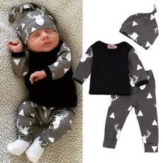 Newborn Baby Girl Boy Clothes Deer Tops T-shirt+Pants Leggings + hat 3pcs Outfits Set