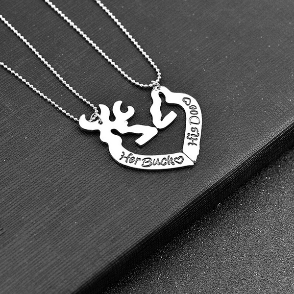 d5c4edc0c2 Her Buck His Doe Hand Stamped Necklace Set, Personalized Set, Personalized  Gift Set for Couples, His and Hers Necklaces, Buck & Doe Necklace | Wish