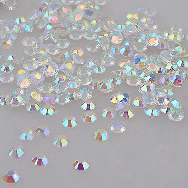 1000pcs/pack 4mm Shiny Acrylic Nail Art Glitter AB Rhinestone Crystal Flatback Beads Tools DIY 3D Tips Decoration Phone Manicure