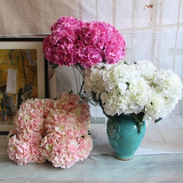 Picture of 5 Heads Artificial Hydrangea Flower Bouquet For Home Wedding Garden Decoration