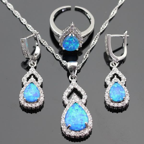 Australia Fire Blue Opal White Topaz 925 Sterling Silver Jewelry Sets Necklace Pendant Drop Earrings Open Ring For Women Free Gift Box