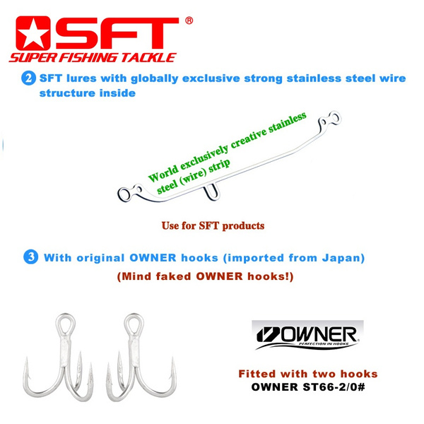 SFT TAKUMI 125/80 Hard Sinking Minnow Fishing Lures with Japan OWNER Treble  Hooks