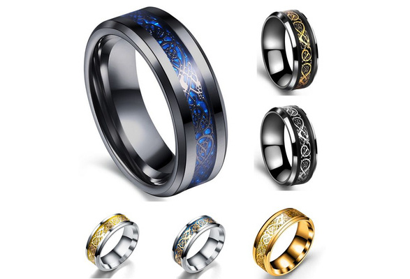 High Quality Black Gold Ring Fashion Titanium Steel Ring For Men