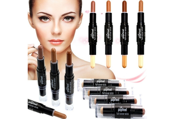 Brand Makeup Creamy Double-ended 2 in1 Contour Stick Contouring Highlighter Bronzer Create 3D Face Makeup Concealer Full Cover Blemish