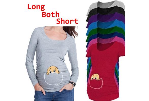 Women Pregnant Fashion Large Size T-shirt Cotton Coat Women Shirt Euramerican Style Maternity Women Loose