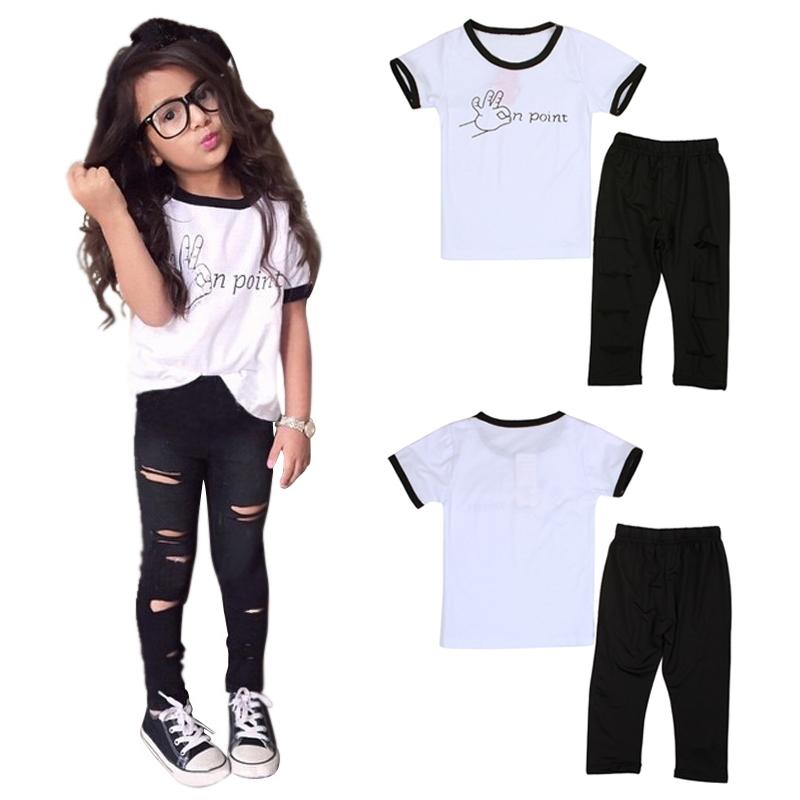 4dad129d9199d 2-6 Ans Tenue Filles Enfants 2PCS Ensemble de Vêtement Mode   T-shirt +  Pantalon Troué