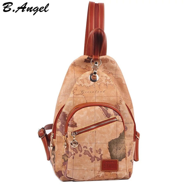 High Quality Uni Vintage World Map Backpack for Women Medium Leather on wwii map bag, travel bag, german map bag, korean map bag, military map bag, poster bag, russian map bag, italian map bag, vintage compass, world map bag, leather map bag,