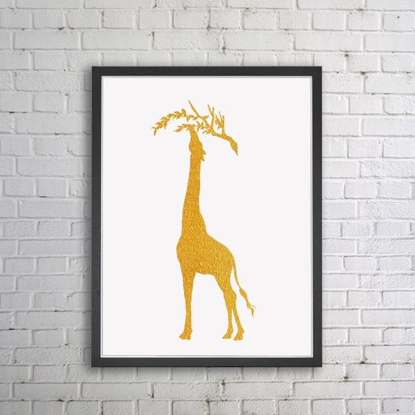 Wish | Giraffe Gold Foil Wall Art African Home Decor Inspiration ...