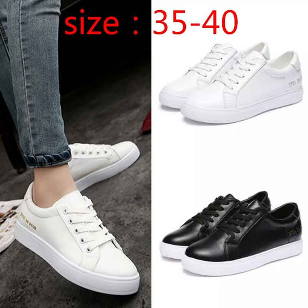 Picture of Fashion Women Casual White Shoes Fashion All-match Leather Shoes Female Student Sneakers Ladies Flats Women Lace Sport Shoes