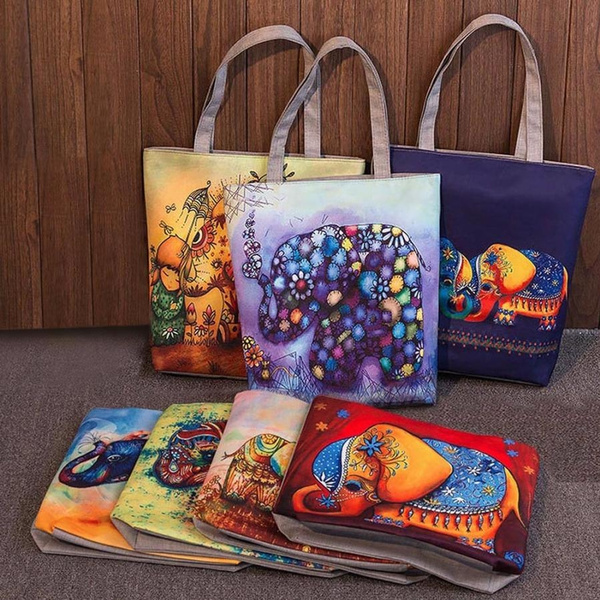 Picture of 1pc Elephant Printing Canvas Tote Casual Beach Bags Women Shopping Bag Handbags