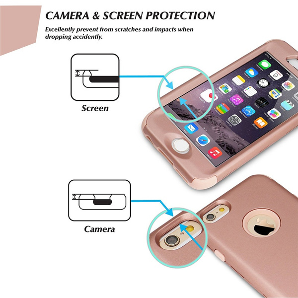 Wish | 360 Full Body Protective Phone Case for iPhone 5 5S SE 6 6S Plus Luxury Shockproof Heavy Duty Hybrid Armor Cover Rose Gold Cases