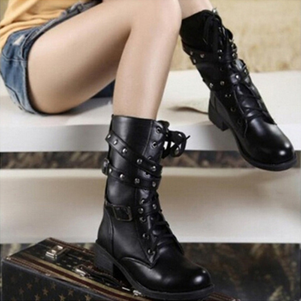 Picture of Womens Lace Up Combat Punk Martin Boot Mid Calf Ankle Boots