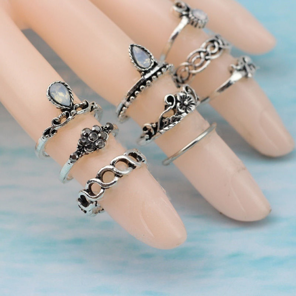 10PC/Set Women Punk Vintage Knuckle Rings Tribal Ethnic Hippie Stone Joint Ring Jewelry Set Gift XBB