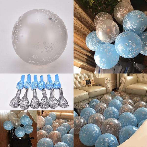 12x Frozen Snowflake Latex Balloons
