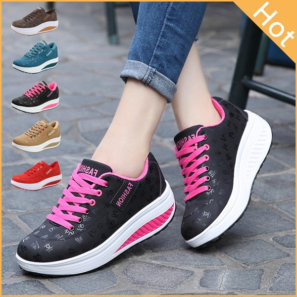 Picture of Fashion Women Sneakers Increase Leather Breathable Shoes Casual Sport Outdoor Shoes