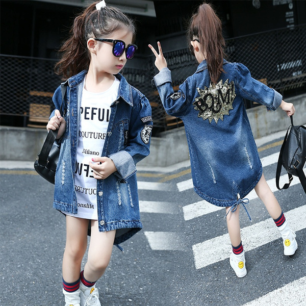 086e8eb78 Children & Young Adults Denim Jacket Denim Coat Girl Frayed Casual Jeans  Coat Kids Ripped Outwear Blue 4-14 Years
