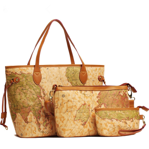 Creative World Map Handbag Shoulder Bag Coin Purse Casual Suit