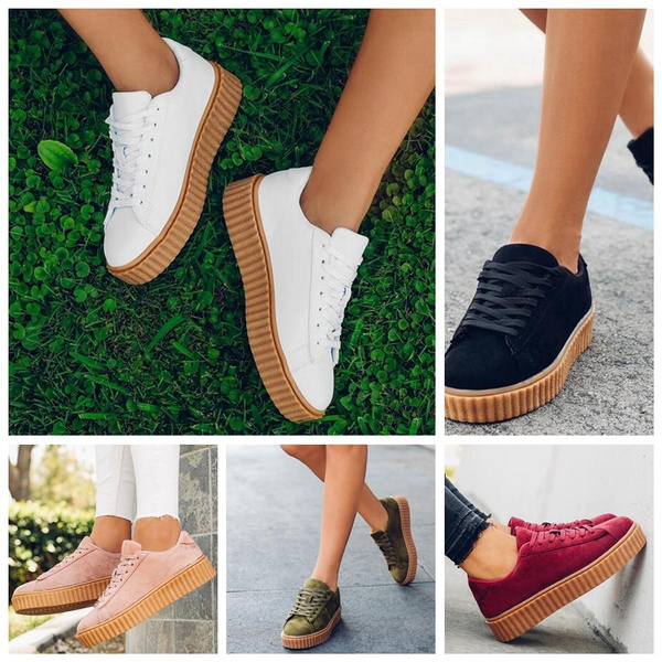 Women Spring PU Leather Casual Lace-Up Fashion Platform Flats High top Women Shoes