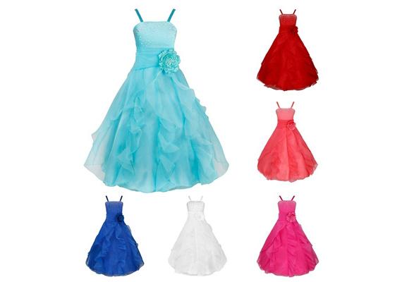 Sweet Kids Girls Sleeveless Organza Tutu Princess Bridesmaid Wedding Birthday Party Long Dress