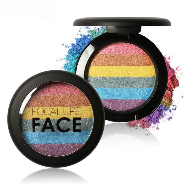 Picture of 6 Colors Rainbow Highlighter Powder Makeup Cosmetic Shimmer Eyeshadow Blusher Palette For Women