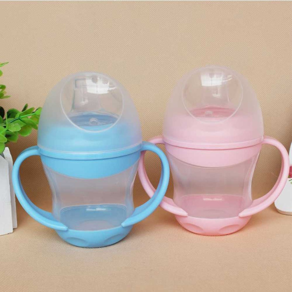 Water Duckbill Mouth Handle Soft Drinking Tool Infant Cups Baby Training Bottle