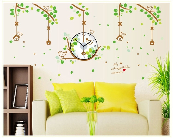 Wish | Large Creative Nest clock Wall sticker Cartoon Green Leaf ...
