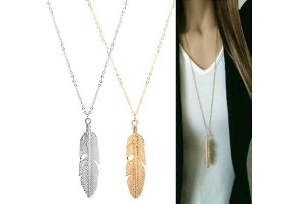 Picture of Women Jewelry Feather Pendant Chain Necklace Long Sweater Chain Statement Jewelry