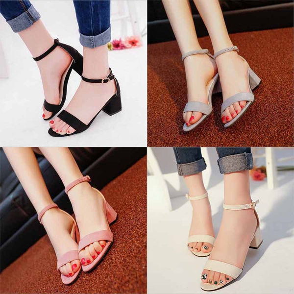 Picture of Open Toe Sandals Casual Thick Heeled Shoes Fashion Black Women Pumps Ankle Strap Buckle Sandals