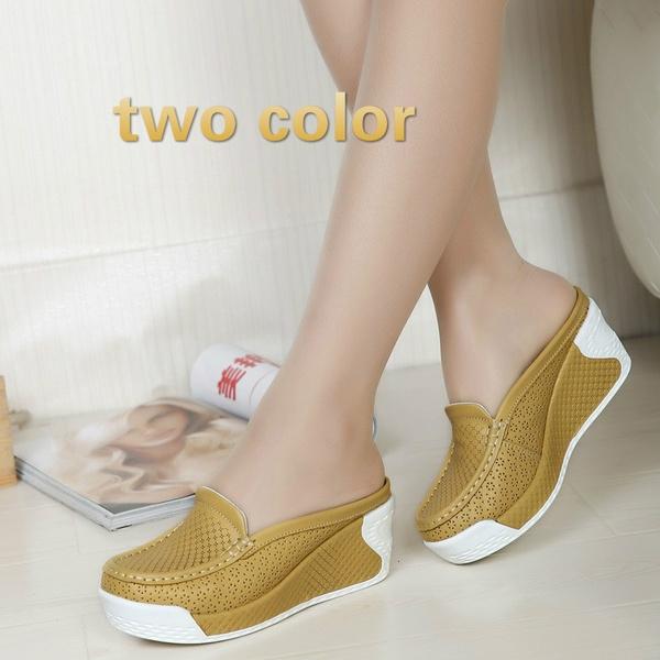 New Women Genuine Leather Sandals 2016 Wedge Summer Shoes Women Slip On Platform Sandal Comfortable