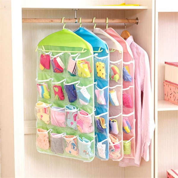 Picture of Hanging Type Clothing Storage Organizer Rack 16 Grid Socks Underwear And Clothing Storage Bag Hanger